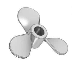 "3 Blade Propeller, LH, Sq, 6"" Dia, 1/2"" Bore - Mixer Direct"